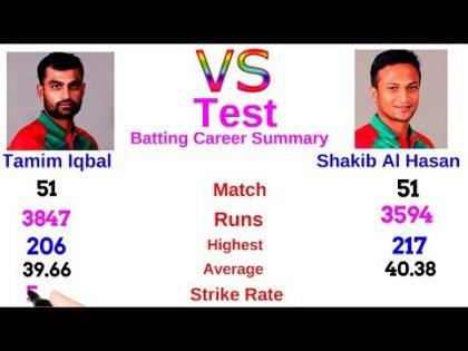 Tamim Iqbal VS Shakib Al Hasan Test Comparison. Bangladesh Cricket News Update