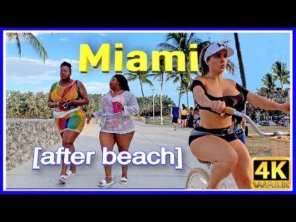 4k WALK MIAMI beach 4k VIDEO SOUTH BEACH slow tv TRAVEL VLOG