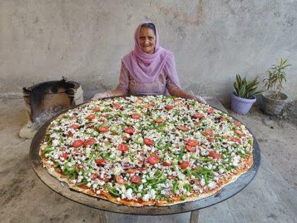 PIZZA   PANEER PIZZA   GIANT PIZZA   PIZZA RECIPE   BIGGEST PIZZA   BY GRANDMA   VEG VILLAGE FOOD