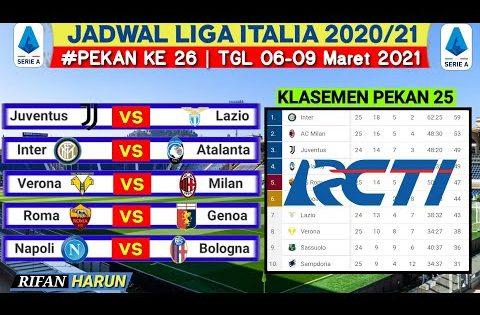 Jadwal Liga Italia Malam ini Pekan 26 | Juventus vs Lazio | Klasemen Serie A 2021 Terbaru |Live Rcti