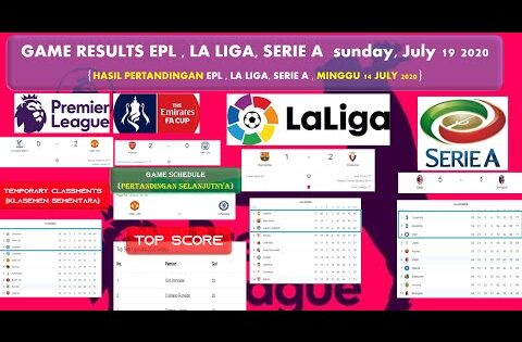 Hasil Pertandingan lENGKAP lIGA INGGRIS, Piala FA CUP, lA LIGA, SERIE A, KLASEMEN NEW, NEW TOP SCORE