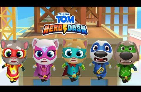 TALKING TOM HERO DASH — ALL HERO CHARACTER FUNNY FAIL SWING ON A CRANE FUN GAME