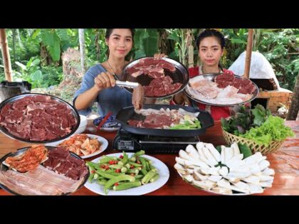 BBQ beef with sea food and vegetable recipe